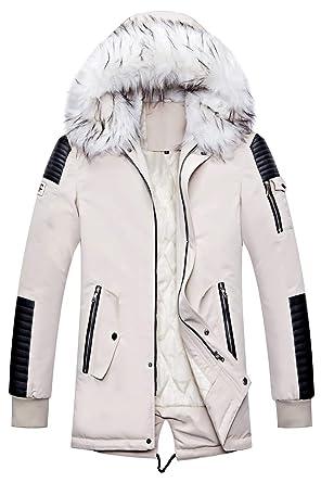 Homme Classique Hiver détachable à Capuche Blousons Rembourrée Manteau Parka Épais Chaud Fourrure Long Veste Mens Hooded Jacket