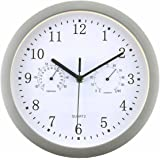 Foxtop Large Indoor Outdoor Wall Clock Universal Quartz Non-Ticking & Silent 10-Inch Clocks with Temperature and Humidity Glass Cover (Silver)