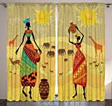 Safari Decor African Tribal Women Wild Animals Giraffe Elephants Deers Antlers Desert Theme Bohemian Artwork for Bedroom Living Room Artsy Curtains 2 Panels Set 108x84 Inches, Gold Yellow Orange