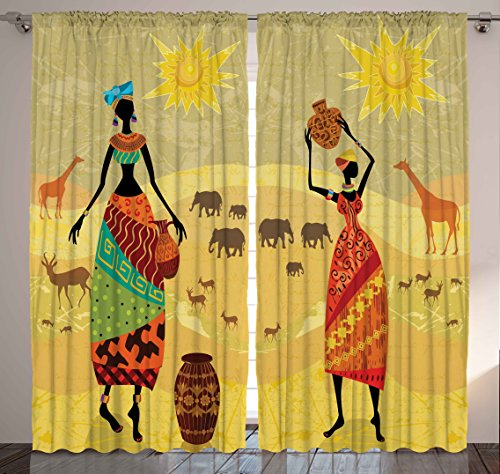 Safari Decor African Tribal Women Wild Animals Giraffe Elephants Deers Antlers Desert Theme Bohemian Artwork for Bedroom Living Room Artsy Curtains 2 Panels Set 108x84 Inches, Gold Yellow Orange by Ambesonne