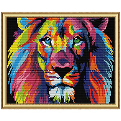 cici store DIY Counted Cross Stitch Kits-Colored Lion (40×32Cm),Adults Handmade Needlework Embroidery Set for Wall Decor