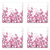 Lunarable Asian Coaster Set of Four, Japanese Cherry Blossoms Sakura with Branches Spring Flower Garden Artsy Illustration, Square Hardboard Gloss Coasters for Drinks, Pink White