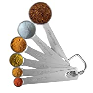 Measuring Spoons, Alotpower Heavy Duty Stainless Steel Metal Measuring Spoons set of 6 for Measuring Dry and Liquid Ingredients