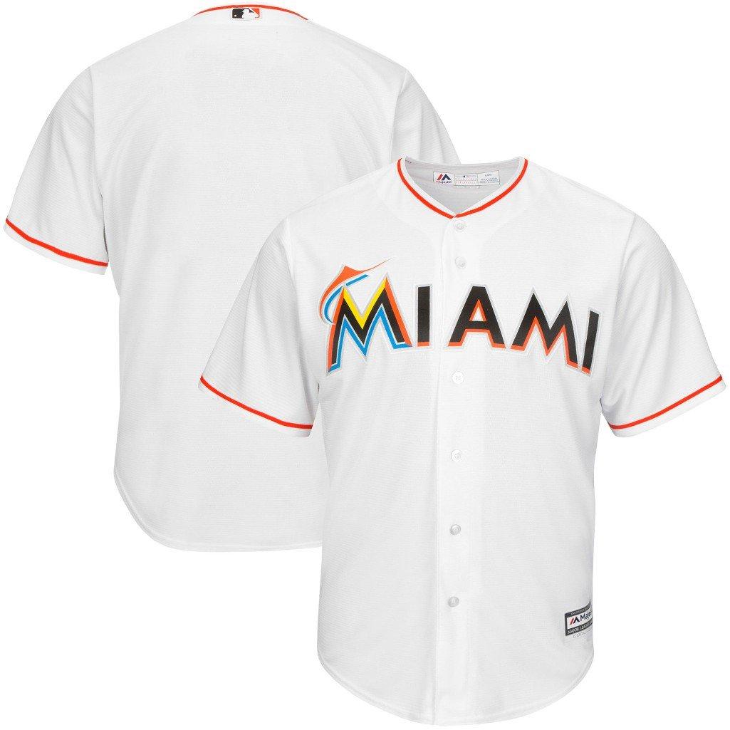 3e7dbf09 Amazon.com : VF Miami Marlins MLB Mens Majestic Cool Base Replica Jersey  White Big & Tall Sizes : Clothing