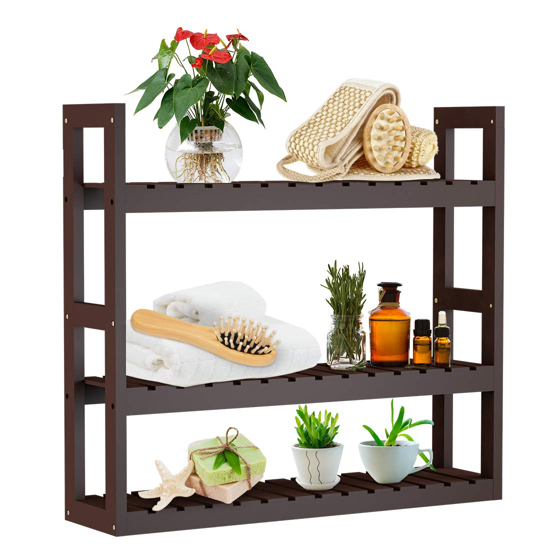 Bathroom Shelf 3-Tier Wall Mount Shelf Storage Rack Adjustable Layer Free Standing Plant Stand Towel Holder Over Toilet Shelves Living Room Kitchen Brown by Domax