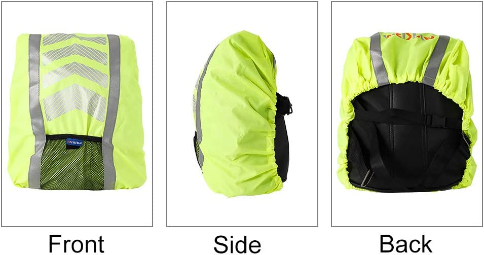 Cycling faddy-1 Waterproof Backpack Cover Green Camping Rain Cover for Backpack School Bag High Visibility Reflective Waterproof Rucksack for Hiking