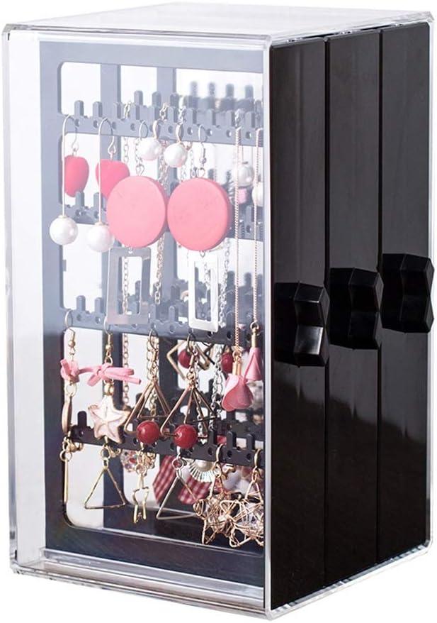 Caja De Almacenamiento De Clip De Oreja Caja De Acabado De Aretes Soporte De Exhibición De Joyas De Aretes Colgador De Collar Gran Capacidad Transparente (Color : Black, Size : 13 *