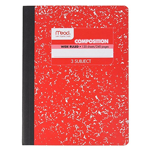 Mead 3 Subject Composition Notebook, Wide Ruled, 120 Sheet (240 Page), 9-3/4