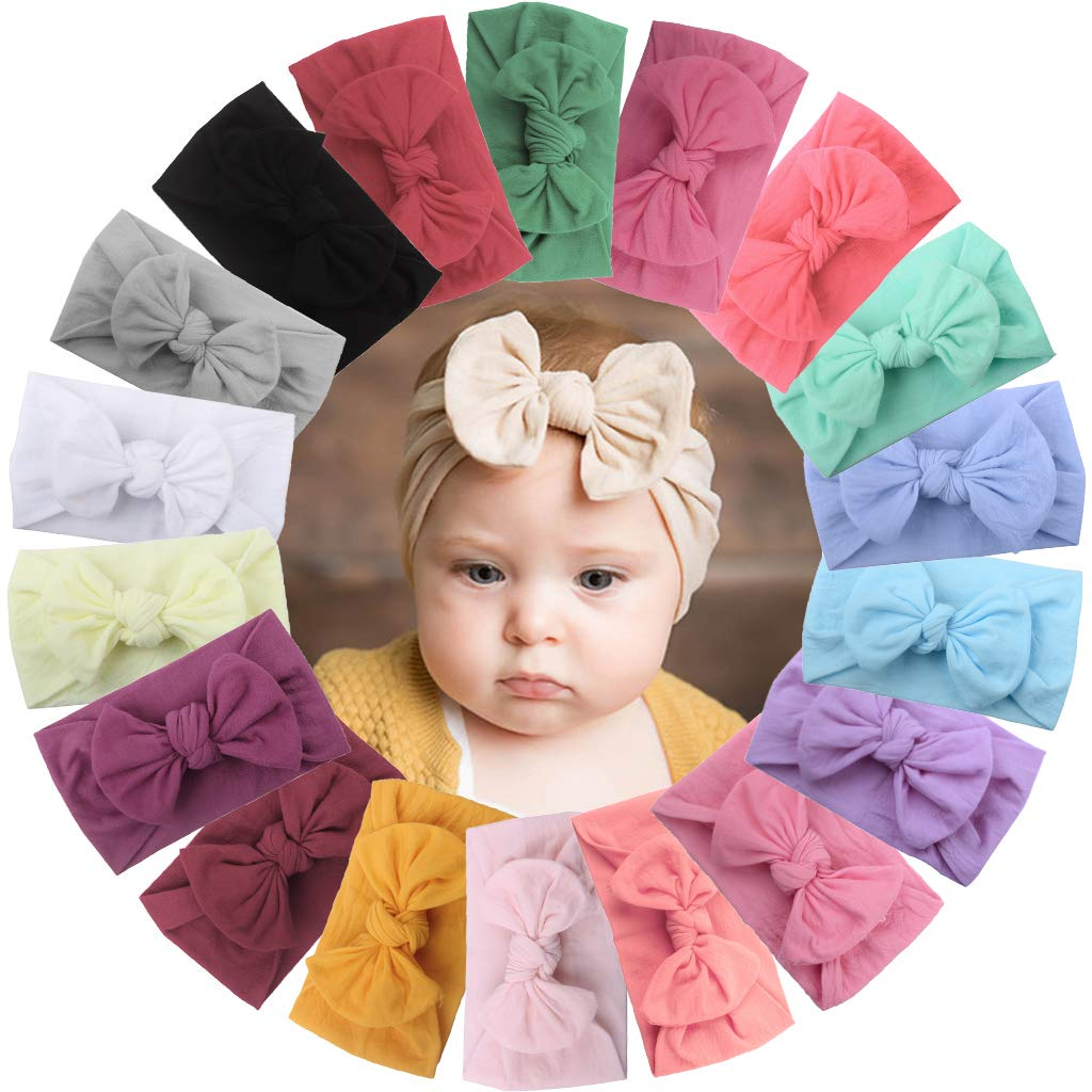 18 Pieces Nylon Newborn Headbands Hair Bows Elastics Soft Bands Headwraps for Newborns Infants Toddlers
