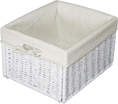 "KMH®, Práctica caja-cesto ""Jytte"" (blanco) estilo Rattan (#204039): Amazon.es: Hogar"