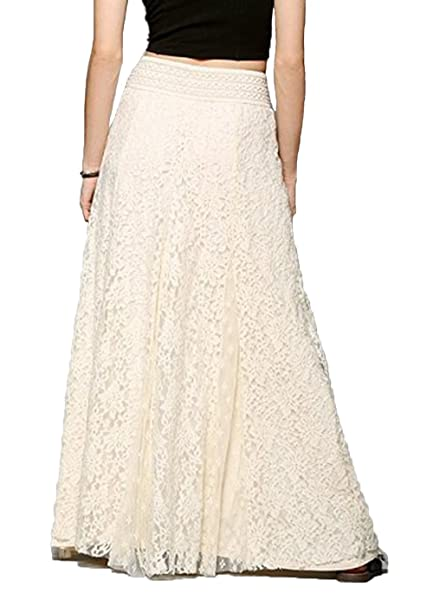 a3cc2791764211 Elegant Slim High Waist A-Line Hollow Lace Skirt Evening Prom Party Wedding  Ceremony Long