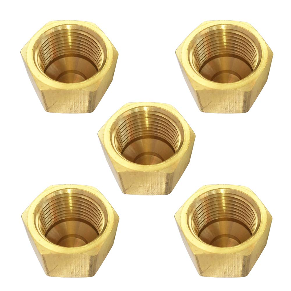 Brass 45 Degree Flare Cap 1/4'' Tube OD SAE Fitting 5pcs by MeiChi