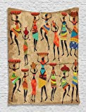 African American Art History and Culture of Honor Ethnic Dresses Women Tribal Print Wall Decor for Bedroom Accessories Wall Hanging Tapestry Creative Collection, Camel Red Green Brown