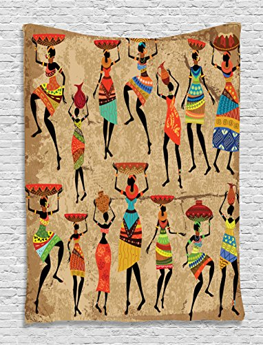 Ambesonne African Tapestry, Woman Silhouettes with Traditional Clothes Carrying Bowls on Head, Wall Hanging for Bedroom Living Room Dorm, 60