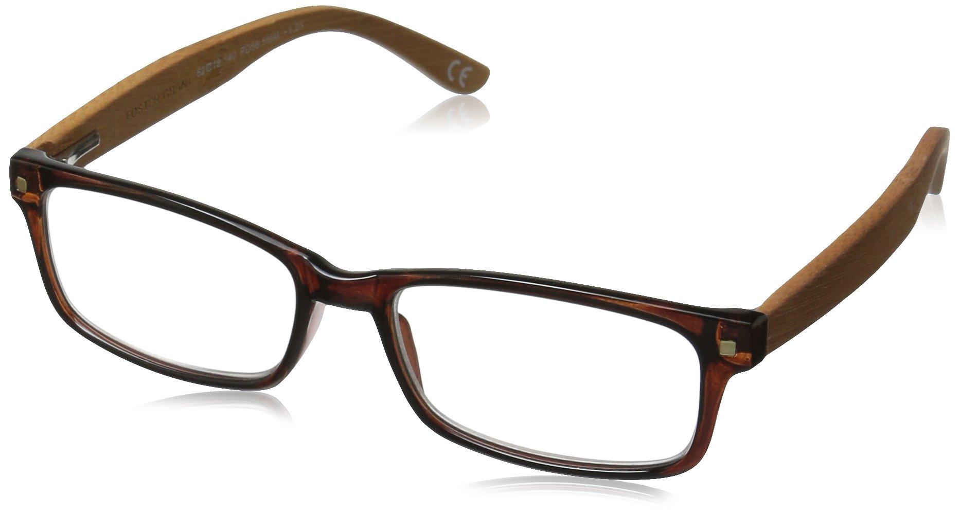Foster Grant Men's Angus 1017560-175.COM Wayfarer Reading Glasses, Brown, 1.75