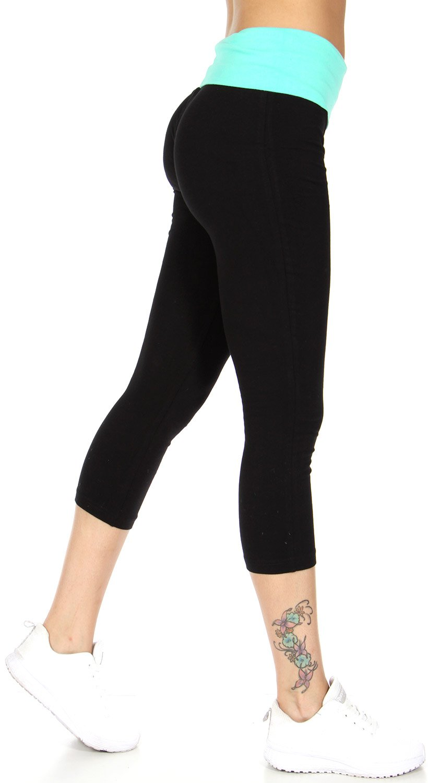 SERENITA Yoga Pants, Workout Leggings, Capri, Foldover High Waist, by, Capri Mint/Black M