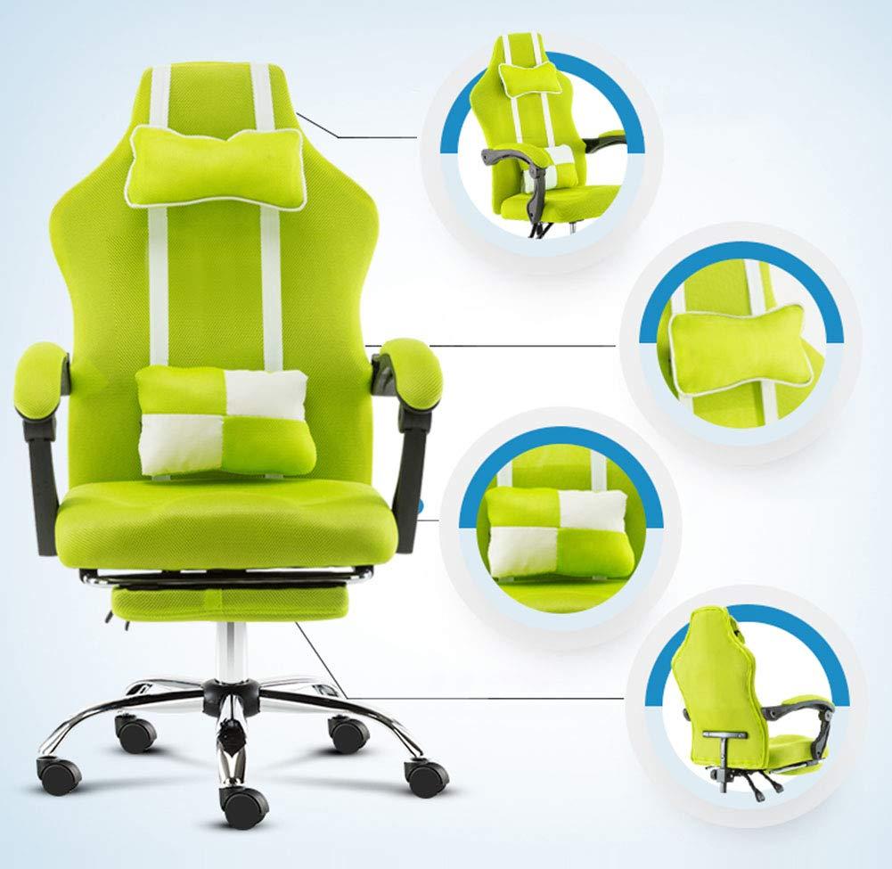 JFSKD TV-spelstolar, datorstol, 360° svängbar höjd justerbar vilande PC-stol med fotstöd och ryggkudde gRÖN Röd