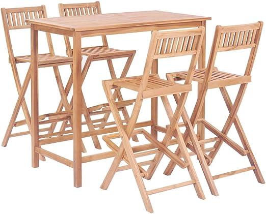Festnight Conjunto de Muebles de Jardín de Comedor Muebles de Bar 5 Piezas, 1 Mesa y 4 Sillas Plegables Madera de Teca Maciza: Amazon.es: Hogar