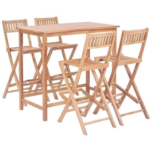 Tidyard Conjunto Mesa y Sillas Jardin Conjunto de Muebles de Bar 5 ...