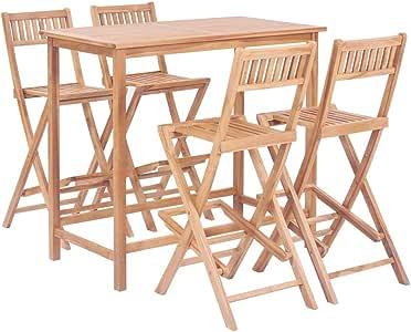 Tidyard Conjunto Mesa y Sillas Jardin Conjunto de Muebles de Bar 5 Piezas Madera de Maciza de Teca de Mesa 120 x 65 x 110 cm y de Silla 45 x 60 x 113,5 cm: Amazon.es: Hogar