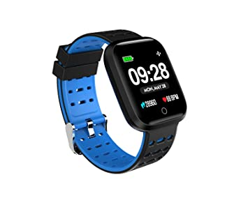 Doki Reloj Inteligente De 1,2 Pulgadas Presión Arterial Frecuencia Cardíaca Smartwatch Fitness Monitor para Teléfonos Android iOS (Azul)