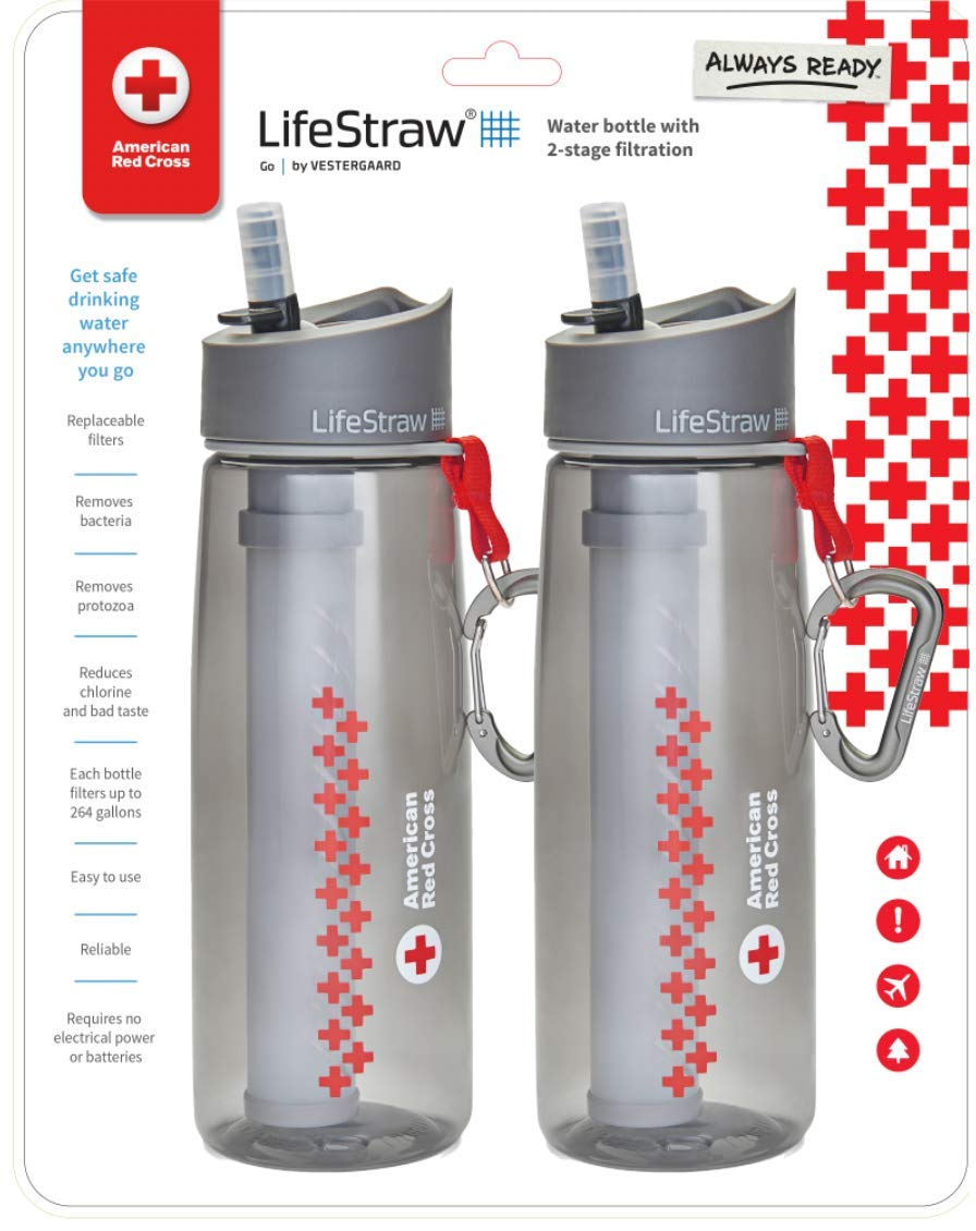LifeStraw Go Water Filter Bottle with Integrated for Hiking, Backpacking & Travel, Red, One Size (Pack of 2)