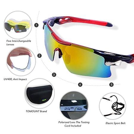 TOMOUNT Gafas de sol Hombre Mujer Wayfarer polarizadas - con 5 vasos irrompible colorés anti-UV para ciclismo, Moto, Esquí, pesca deporte de Plein Air: ...