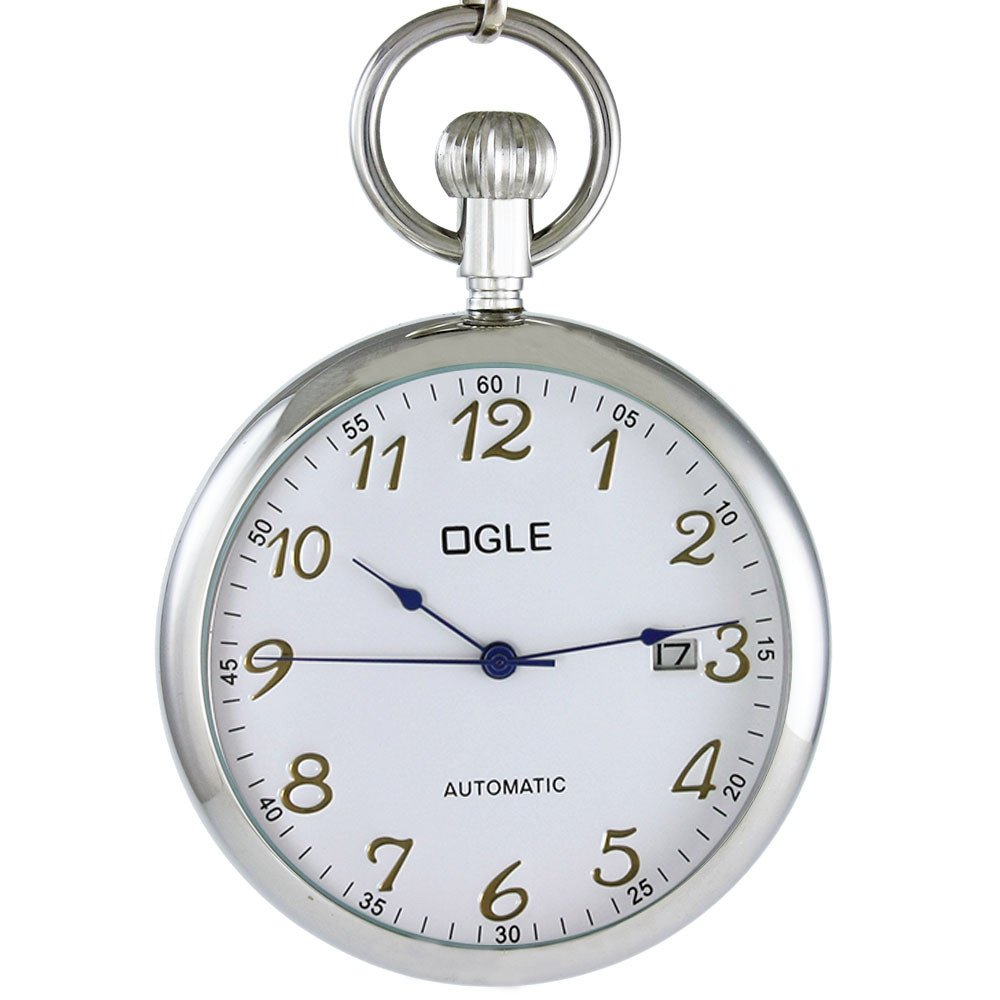 Ogle 3ATM Waterproof Vintage Stainless Steel Silver White Calendar Date Fob Self Winding Automatic Skeleton Mechanical Pocket Watch Chain Box