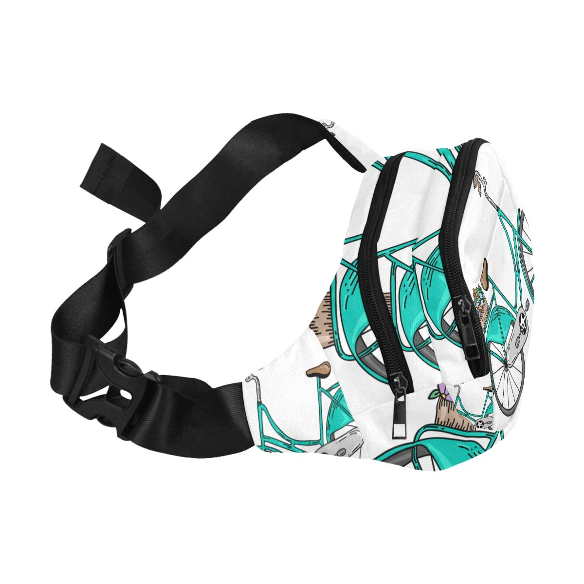 Hand-painted Bicycle Fenny Packs Waist Bags Adjustable Belt Waterproof Nylon Travel Running Sport Vacation Party For Men Women Boys Girls Kids
