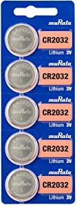 Murata CR2032 Battery 3V Lithium Coin Cell - Replaces Sony CR2032 (5 Batteries)