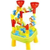 deAO Sand and Water Table - Water Park Mills and Slides with Accessories Included (GREEN)