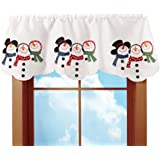 Embroidered Snowman Winter Rod Pocket Window Valance, White