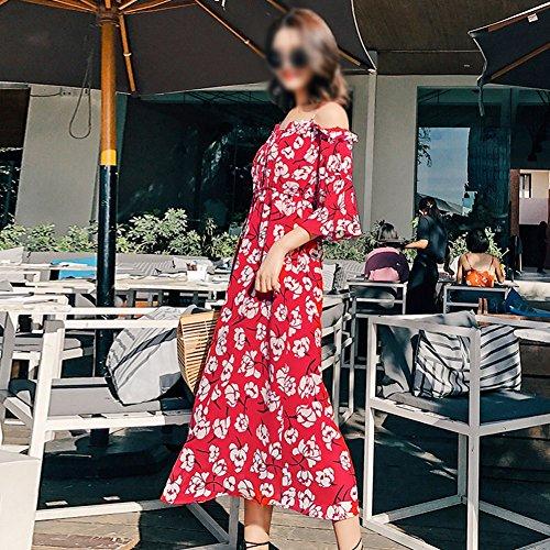 Dress Kleider Beach Sommer trägerlosen Sling Rot Rote Schulter Frau wfzTq
