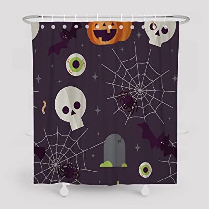 Asoco Shower CurtainCreepy With Halloween Items And Dark Pattern Bathroom Waterproof Fabric 78 Inches