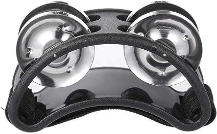 Foot Tambourine Percussion Instrument Metal Jingle Bell Accessories black