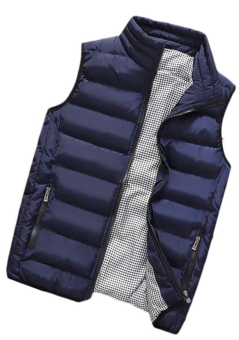 Sayhi Mens Stand Collar Puffer Vest Fall Winter Quilted Outdoor Down Vest