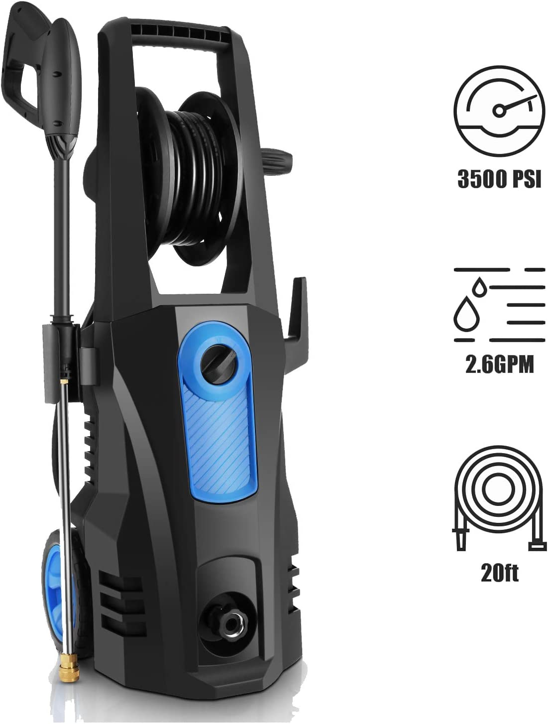 TEANDE 3500 PSI Electric Pressure Washer, 2.60 GPM 1800W Power Washer with Hose Reel Blue