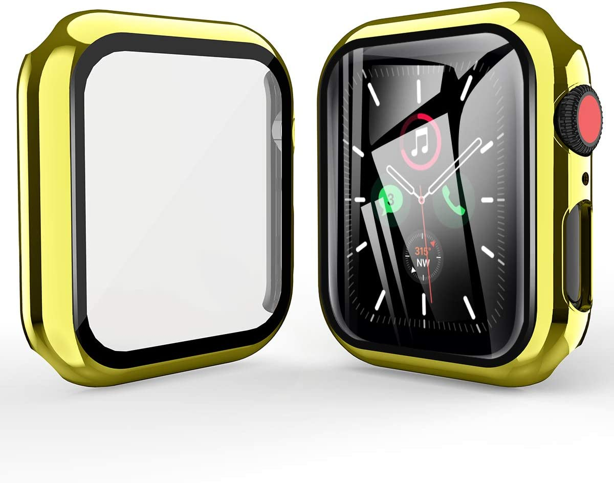 Case Design for Apple Watch Series 6 40mm 44mm Electroplate Protective Slim Shockproof Anti-Scratch Bumper Cover Silicone Shell Cover with Screen Protector for Series 6 iWatch 6 iWatch SE iWatch 5