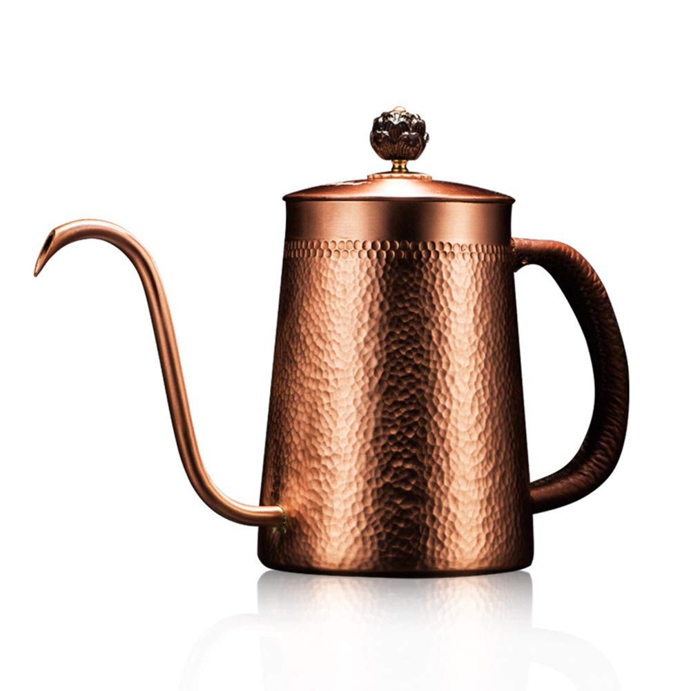 JunHenglr Stainless Steel Coffee Pot, Household Copper Anti-Scalding Handle Coffee Drip Kettle Cup Teapot Container Bronze