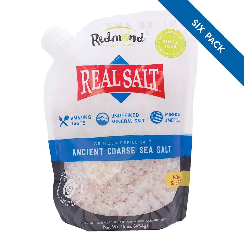 Redmond Real Salt, Nature's First Sea Salt, Coarse Salt, 16 Ounce Pouch (6 Pack)
