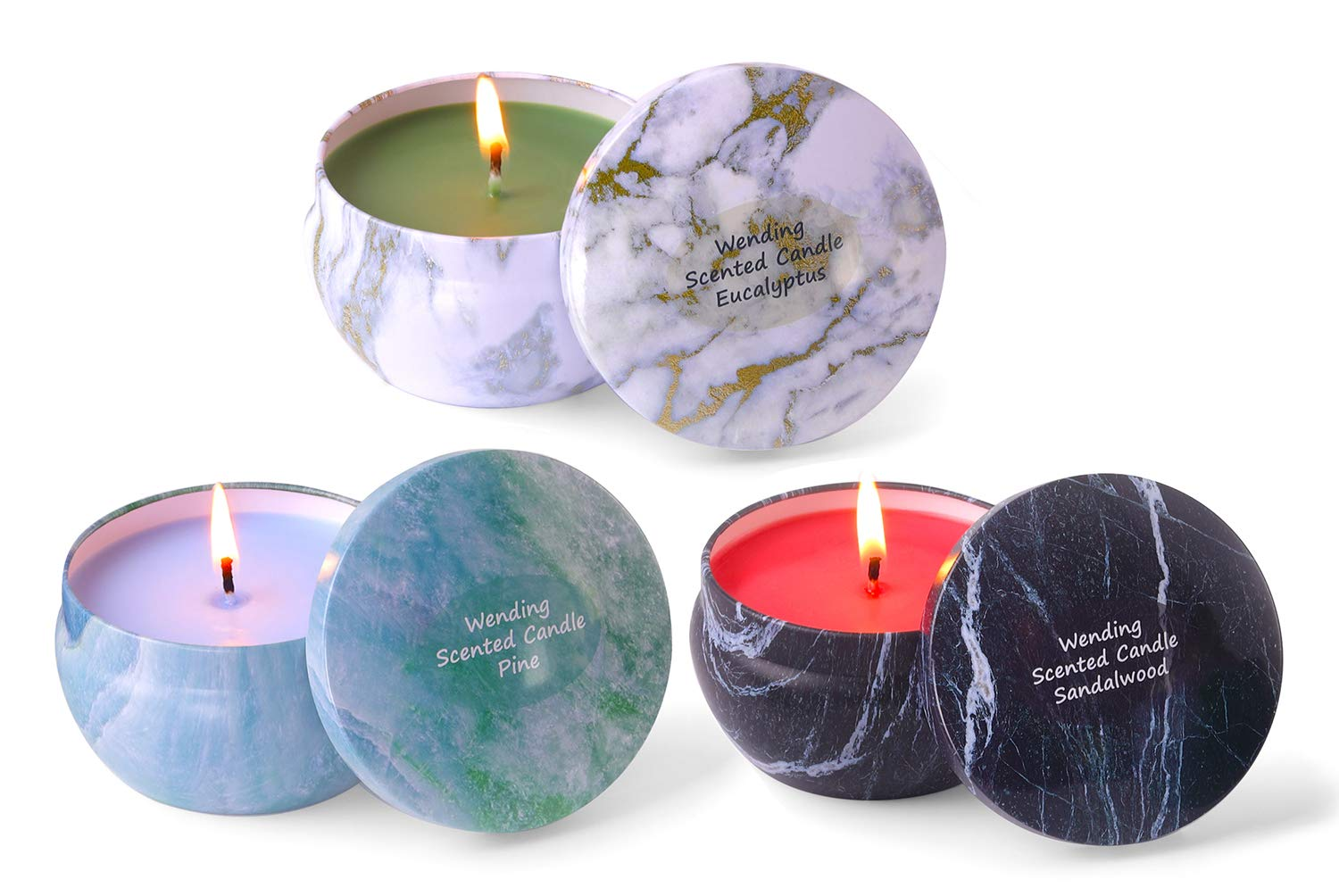 3 Soy Wax Candles 8.1oz Each of Sandalwood, Pine, Eucalyptus Long Burning Total 135H Up Large Travel Tin Scented Candle to Create Mood & Enhance Atmospheres, Aromatherapy & Stress Relief for Women Men by Wending (Image #1)