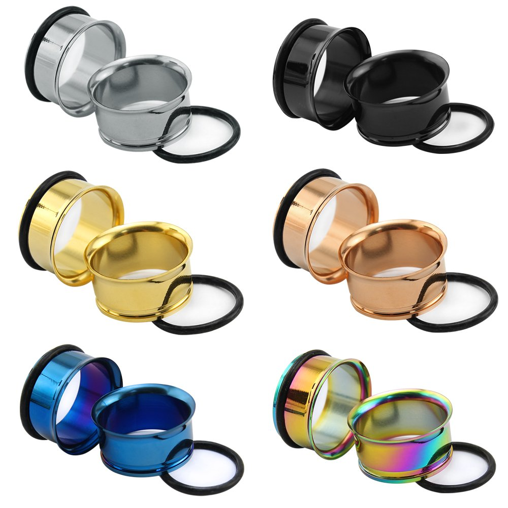 """6Pairs 8g-1"""" Stainless SteelSingle Flared Ear Flesh Tunnel with Silicone O-rings Plug Gauge Ear Stretcher Expander (Gauge=2g(6mm))"""