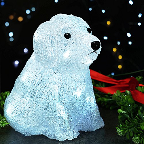 bright zeal led acrylic puppy dog sculpture light with 20 leds 8 tall cool white battery operated 6hr timer dog statue led lights led figurines - Dog Christmas Lights