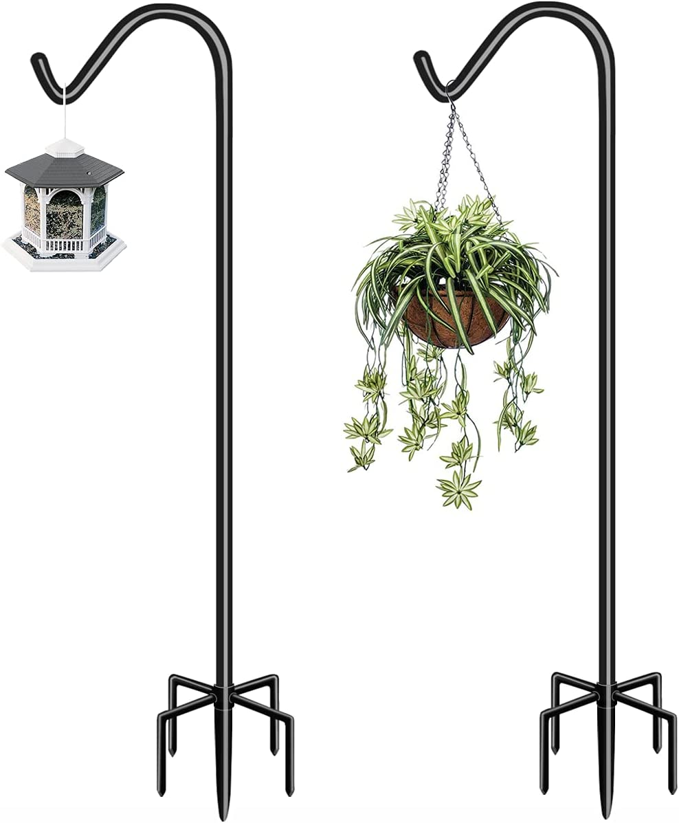 Garbuildman 60 Inch Tall Shepherd Hooks with 5-Forked Base, Adjustable Heavy Duty Bird Feeder Pole Stand Hanger for Outdoor, Shiny Black, 2 Pack