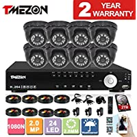 TMEZON HD 1080N 16 Channel AHD DVR Video Security System with 8 x 2.0MP 2000TVL AHD Cameras 65ft Night Vision 2TB HDD