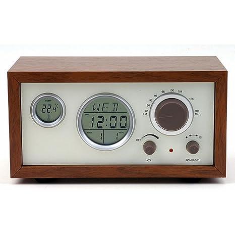 GAOHL Radio reloj despertador madera artesanal adornos