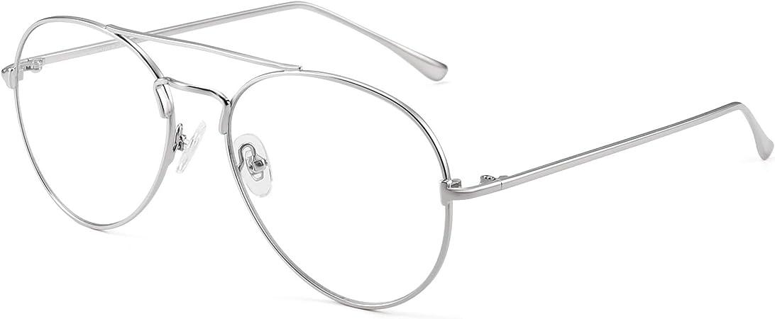 JIM HALO Blau Licht Blockierung Computer Brillen Reduzieren Auge Belastung Metall Flieger Rahmen Gl/äser Damen Herren Gold