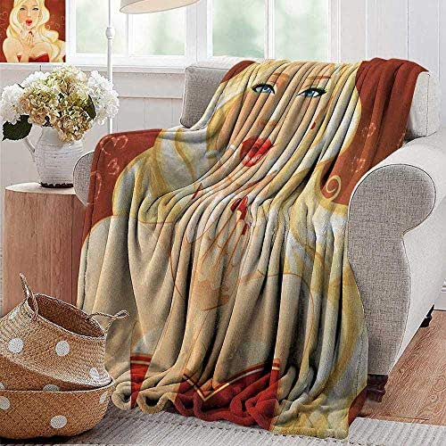 XavieraDoherty Custom Sofa Bed Throw Blanket,Kiss,Beautiful Young Blonde Woman Sending Kisses Hearts Flirting Love Valentine, Chesnut Brown Yellow,300GSM,Super Soft and Warm,Durable Blanket 60