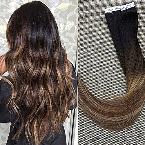"Full Shine 20"" Balayage Tape in Hair Extensions Color #1B Fading to #6 and #27 Honey Blonde Human Hair Ombre Skin Weft Hair Extensions 40 Pcs 100grams Per Package"