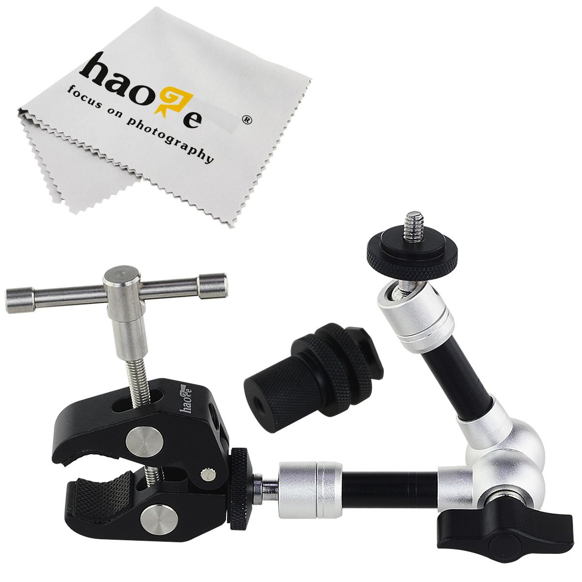 Haoge 7 inch Articulating Friction Magic Arm with Large Clamp Clip for HDMI LCD Monitor LED Light DSLR Camera Video Tripod Flash Lights Microphone TPCAST HTC VIVE Pro Base Station lightinghouse